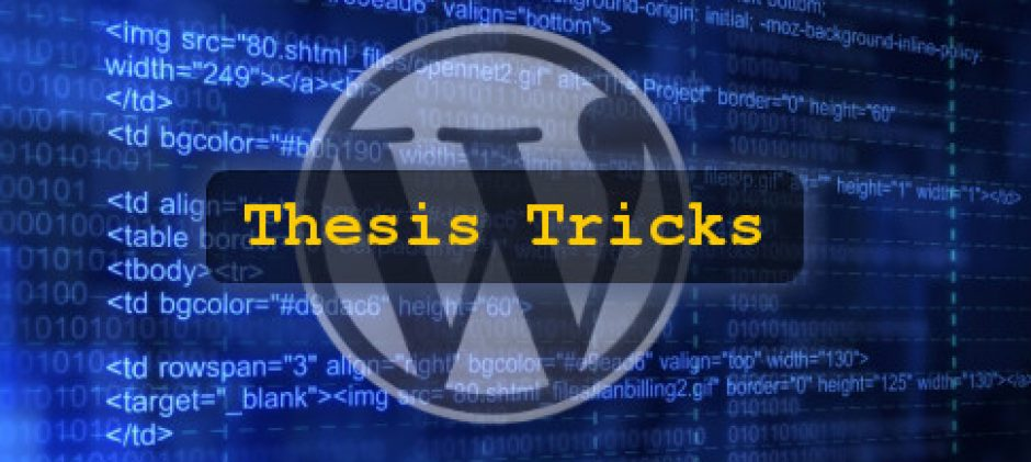 Best Available Tutorials for Thesis theme customization