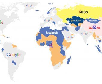 Websites Hotspot – World Map Dominated by Google
